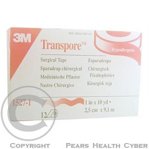 3M Transpore transparentní náplast 2.5 cm x 9.15 m 12 ks