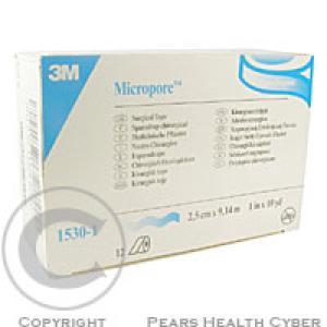 3M Micropore papírová náplast bílá 2.5 cm x 9.15 m 12 ks