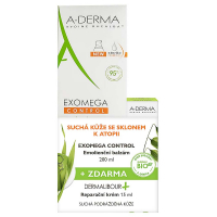 A-DERMA Exomega Control Balzám 200 ml + Dermalibour Reparační krém 15 ml