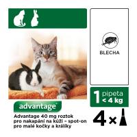 ADVANTAGE Spot on pro kočky do 4 kg 4x0,4 ml