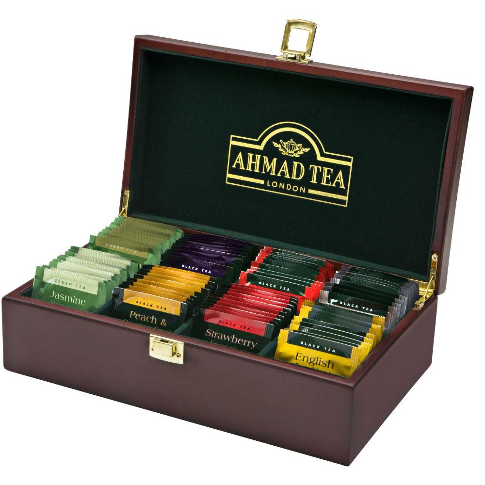 AHMAD TEA Tea Keeper dřevěná kazeta 80 čajových sáčků