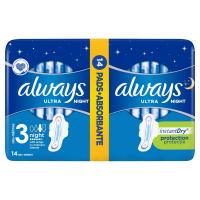 ALWAYS Ultra Night vel.3 Hygienické vložky s křidélky 14 ks