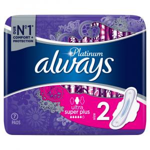 ALWAYS Platinum Long Plus vel.2 Hygienické vložky s křidélky 7 ks