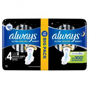 ALWAYS Ultra Secure Night vel.4 Hygienické vložky s křidélky 12 ks