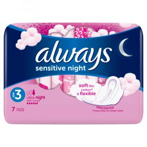 ALWAYS Ultra Sensitive Night vel.3 Hygienické vložky s křidélky 7 ks