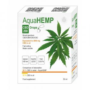AQUAHEMP CBD 200 Konopné kapky široké spektrum 50 ml