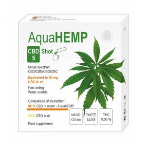 AQUAHEMP CBD 5 Konopný shot široké spektrum 2x 2 ml