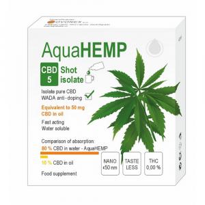 AQUAHEMP CBD 5 Konopný shot isolát 2x 2 ml