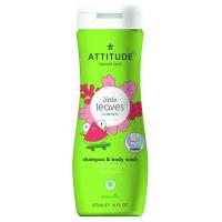 ATTITUDE Little leaves dětské tělové mýdlo a šampon 2 v 1 s vůní melounu a kokosu 473 ml