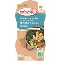 BABYBIO Brambory se špenátem, lososem a rýží 2x200 g