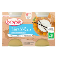 BABYBIO Brassé z ovčího mléka mirabelky vanilka 2x130 g