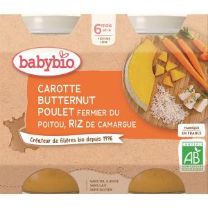 BABYBIO Denní menu Mrkev s máslovou dýní, kuřetem a rýží 2x200 g