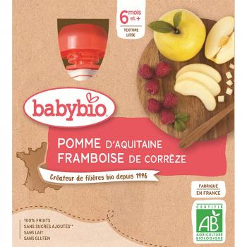 BABYBIO Jablko malina od 6.měsíců 4x 90 g