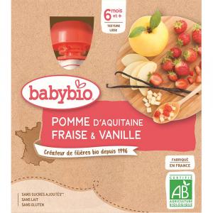 BABYBIO Jablko s jahodou a vanilkou 4x90 g
