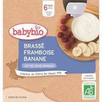 BABYBIO Mléčný dezert malina banán od 6.měsíce 4x 85 g