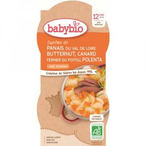 BABYBIO Pastinák s máslovou dýní, kachnou a polentou 2x200 g