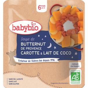 BABYBIO Polévka z máslové dýně s mrkví a kokosovým mlékem 190 g