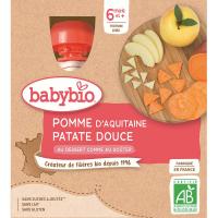 BABYBIO Sladké brambory s jablkem 4 x 90 g