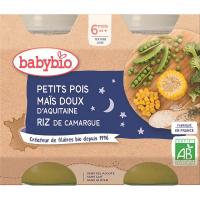 BABYBIO Večerní menu Hrášek se sladkou kukuřicí a rýží 2x200 g
