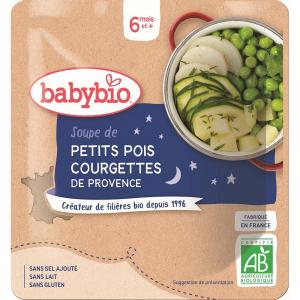 BABYBIO Večerní menu hrášková polévka s cuketou 190 g