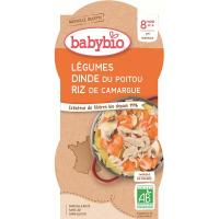 BABYBIO Zelenina s krůtím masem a rýží 2x200 g