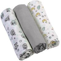 BABYONO Pleny mušelínové Super soft šedé 3 ks