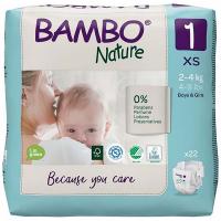 BAMBO Nature 1 Dětské plenkové kalhotky 2-4 kg 22 ks