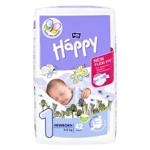 HAPPY Newborn dětské pleny 2 - 5 kg 42 ks