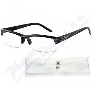 AMERICAN WAY brýle čtecí +3.50 černé s pruhy a pouzdrem