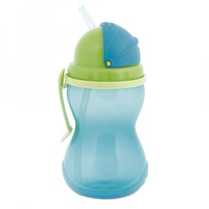 CANPOL BABIES Láhev sportovní se slámkou modrá 370 ml