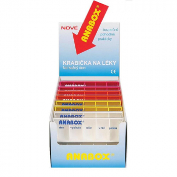 ANABOX Denní dávkovač na léky barevný