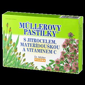 DR. MÜLLER Müllerovy pastilky s jitrocelem, mateřídouškou a vitaminem C 12 pastilek