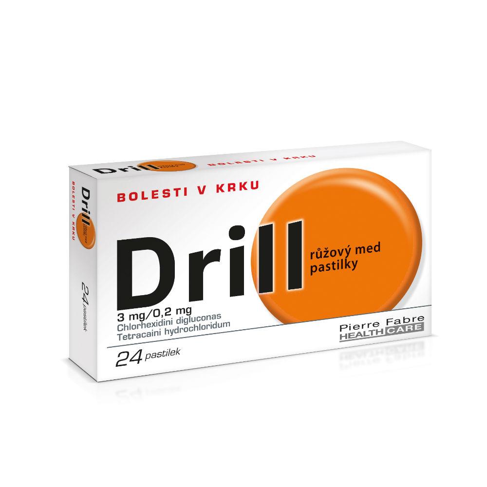 DRILL RŮŽOVÝ MED PASTILKY 24 Pastilky rozp. v ústech