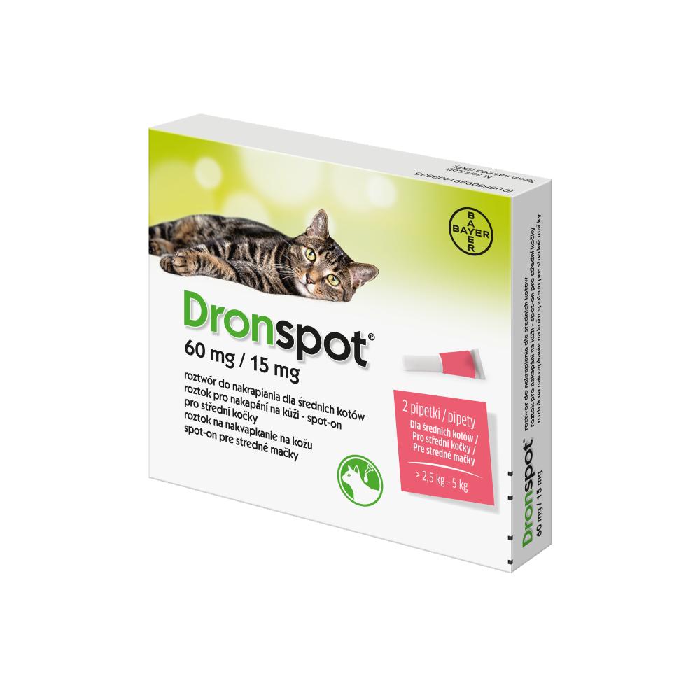 Na fotografii je krabička Dronspotu, antiparazitika pro kočku ve formě spot-on