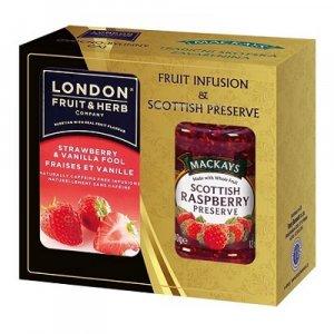 LONDON FRUIT & HERB Jahoda s vanilkou čaj 20 sáčků + malinový džem 340 g