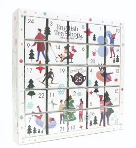 ENGLISH TEA Bílý Adventní kalendář puzzle 25 pyramidek