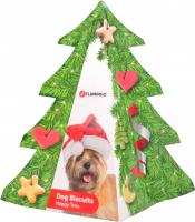 FLAMINGO Vánoční stromeček plněný sušenkami pro psy 200g