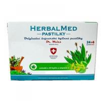 DR. WEISS HerbalMed pastilky Jitrocel + máta + lípa + vitamín C 24+6 pastilek