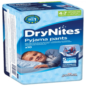 HUGGIES DRY NITES kalhotky absorpční 4 - 7 / M / boys / 17 - 30 kg / 10 ks