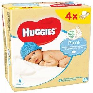 Huggies pure Vlhčené ubrousky 4x56ks