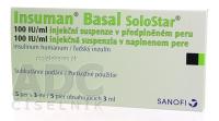 INSUMAN BASAL 100 IU/ML  5X3ML/300UT SOLOSTAR Injekční suspenze