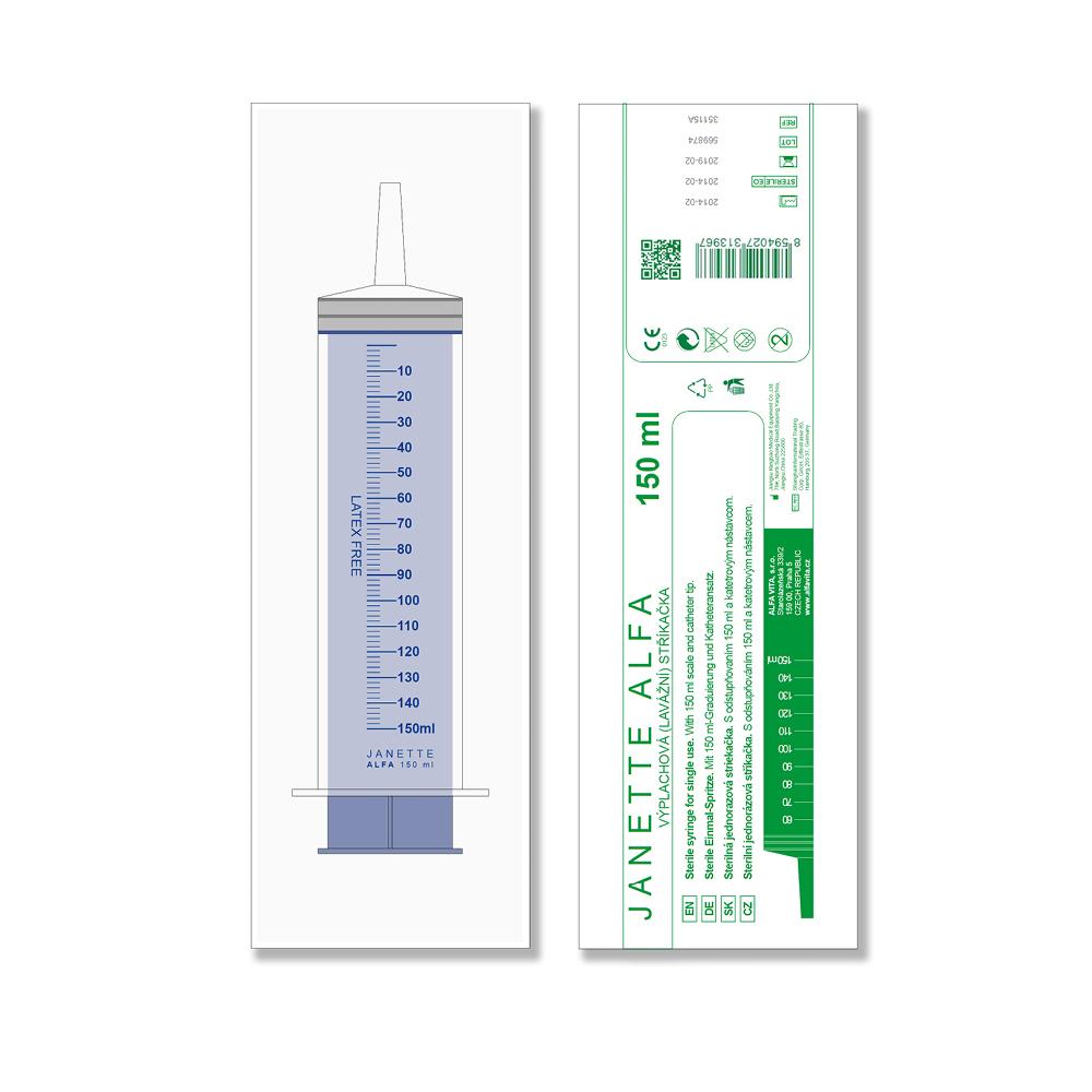JANETTE ALFA Lavážní sterilní stříkačka 150 ml 1 kus