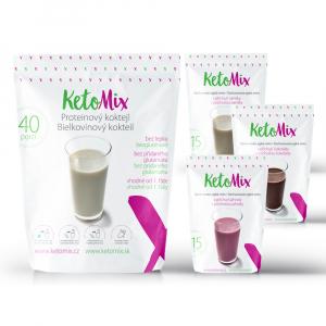 KETOMIX Proteinový koktejl čokoláda, vanilka a jahoda 40 porcí