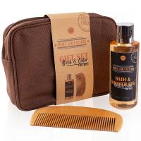 MEN'S COLLECTION Dárkový set v kosmetické taštičce s vůní břízy a cedru sprchový gel 150 ml a dřevěný hřeben