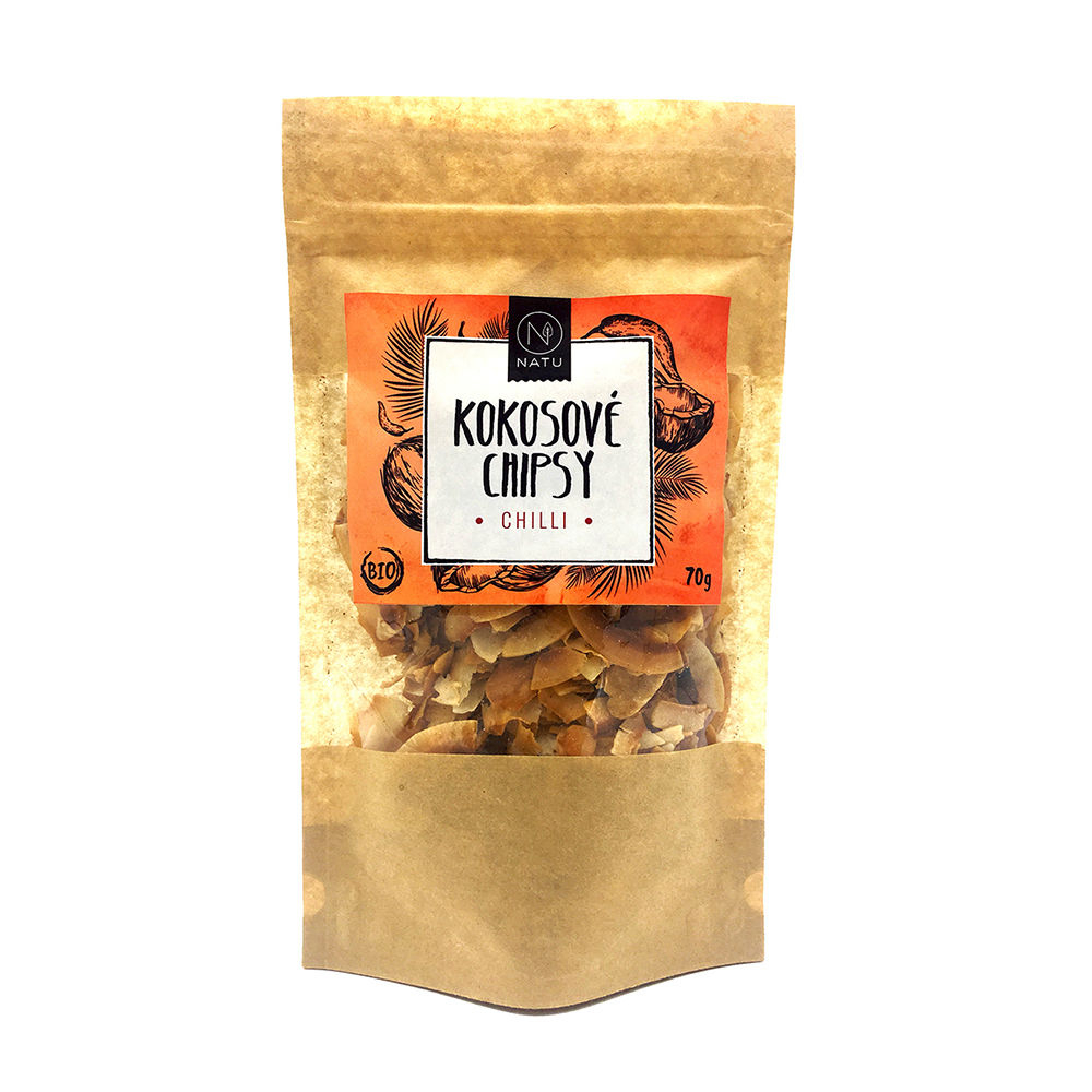 NATU Kokosové chipsy chilli 70 g BIO