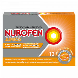 NUROFEN Junior pomeranč 100 mg 12 žvýkacích tablet