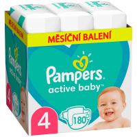 PAMPERS Active Baby 4 velikost 9-14kg 180 kusů měsíční balení