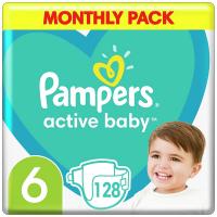 PAMPERS Active Baby 6 velikost 13-18kg 128 kusů měsíční balení