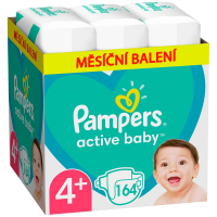 PAMPERS Active Baby 4+ velikost 10-15kg 164 kusů měsíční balení