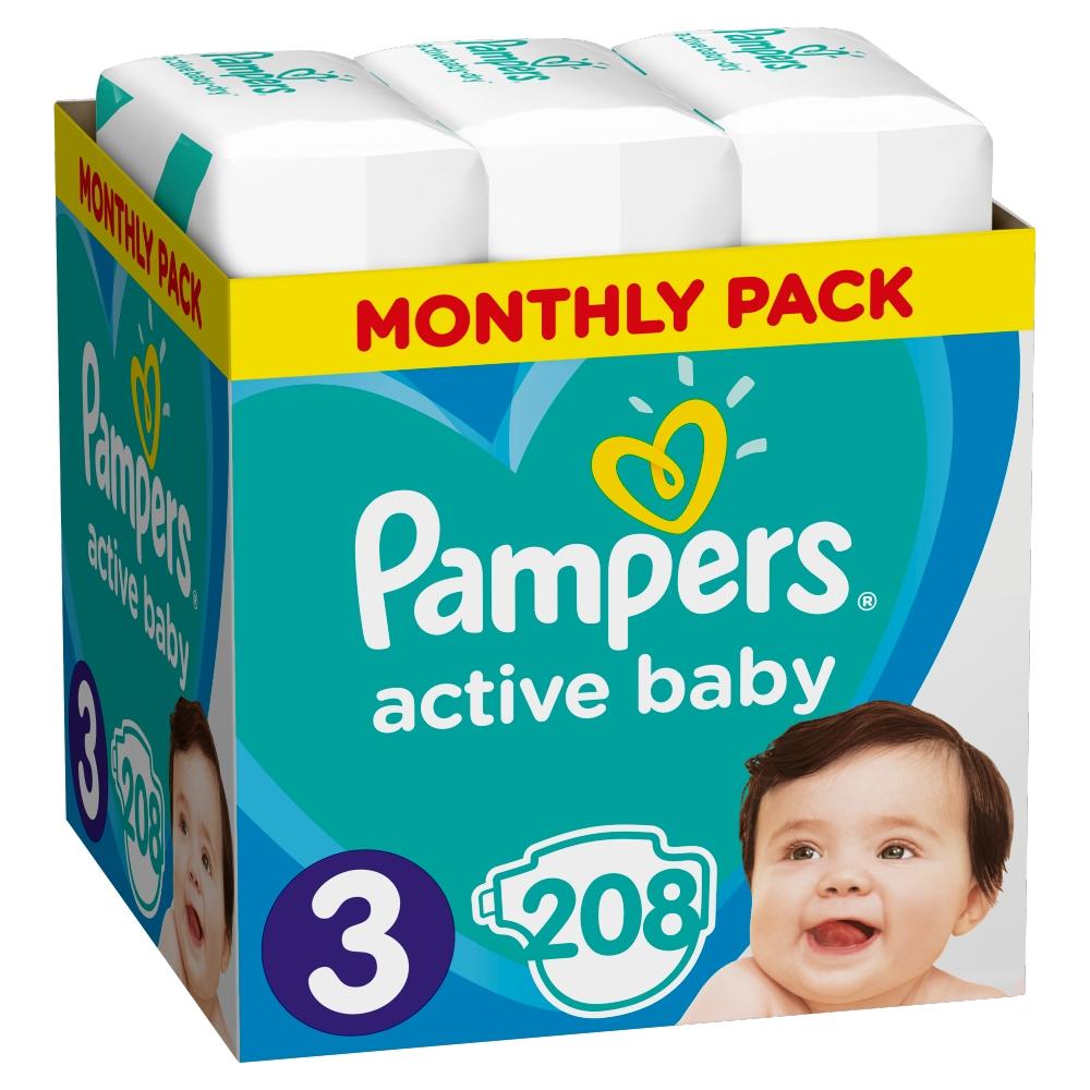 Levně PAMPERS Active Baby dětské plenky vel.3, 6 - 10 kg 208 ks